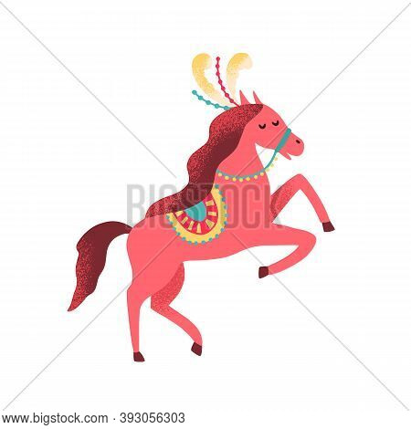 Cute Circus Horse Decorated With Feather And Horsecloth. Childish Shapito Trained Animal. Amusing Ci