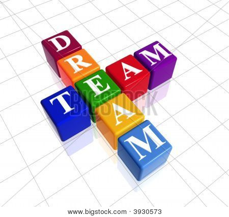 3d colour boxes with text - dream team crossword poster