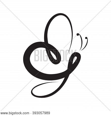 Abstract Butterfly Calligraphy Vector Symbol In Flat Style. Flat Design Butterfly For Element Design