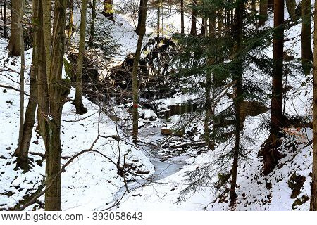 Winter Forest Valley In A Blanket Of Snow, Javorniky, Wallachia, Czech Republic