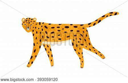 Childish Textured Portrait Of Walking Leopard In Scandinavian Simple Style. Cute Jaguar Or Cheetah I