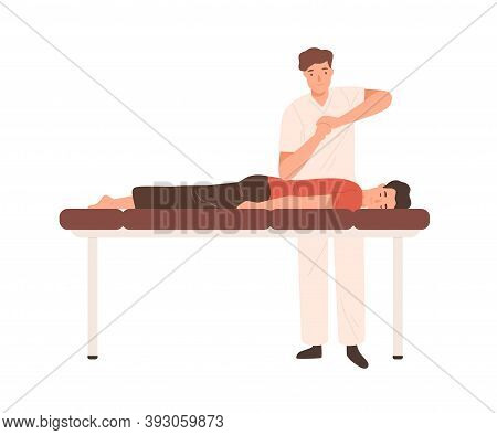 Young Doctor, Chiropractor Or Osteopath Massaging Patient On Couch. Professional Physiotherapist Mak