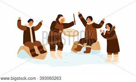 Eskimo People Clapping Hands, Dance And Play National Ethnic Tambourine. Inuit Family Having Fun. Tr