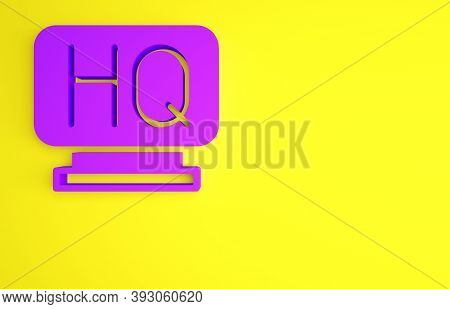 Purple Military Headquarters Icon Isolated On Yellow Background. Minimalism Concept. 3d Illustration