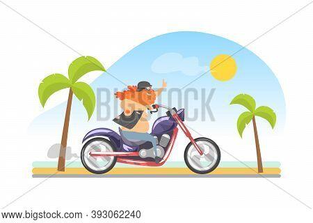 Brutal Biker With Long Beard Riding Motorcycle Vector Illustration