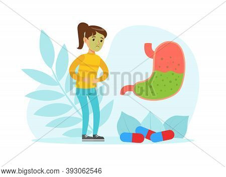 Little Girl Feeling Stomachache Suffering From Intoxication With Floral Leaf Backdrop Vector Illustr