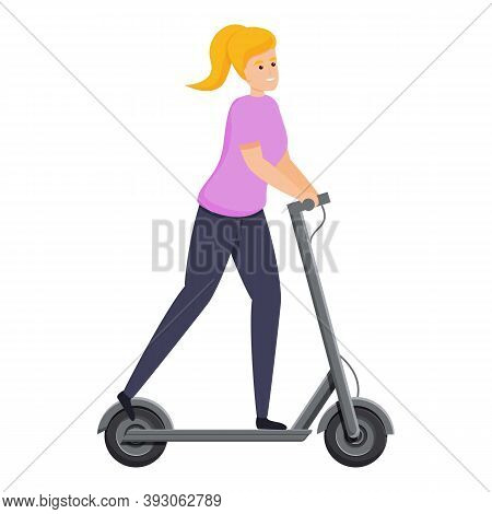 Girl Kick Electric Scooter Icon. Cartoon Of Girl Kick Electric Scooter Vector Icon For Web Design Is
