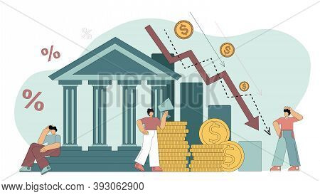 Flat Vector Illustration. Financial Crisis. Bank Liabilities, Risk Of Bankruptcy. People Are Hostage