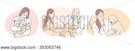 Professional Veterinarian With Pets During Work Concept. Young Confident Man And Women Doctors Veter
