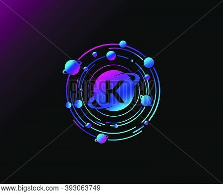 Orbit K Letter Design. Modern Planet With Line Of Orbit. Colorful Abstract Circle Geometry Planet Lo