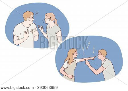 Dispute, Conflict, Stress, Quarrel, Abuse, Misunderstanding Concept. Displeased Young Couple Having