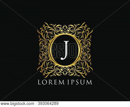 Luxury Badge Letter J Logo. Luxury Gold Calligraphic Vintage Emblem With Beautiful Classy Floral Orn