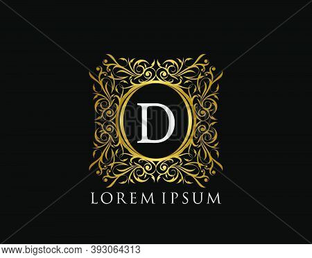Luxury Badge Letter D Logo. Luxury Gold Calligraphic Vintage Emblem With Beautiful Classy Floral Orn