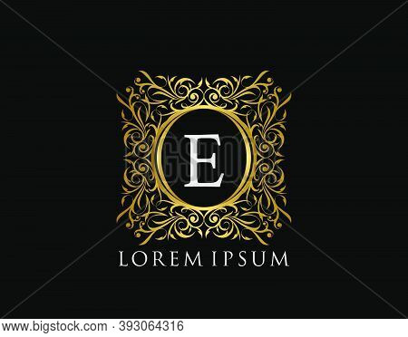 Luxury Badge Letter E Logo. Luxury Gold Calligraphic Vintage Emblem With Beautiful Classy Floral Orn