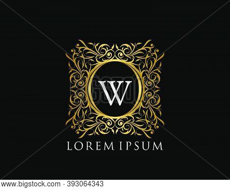 Luxury Badge Letter W Logo. Luxury Gold Calligraphic Vintage Emblem With Beautiful Classy Floral Orn