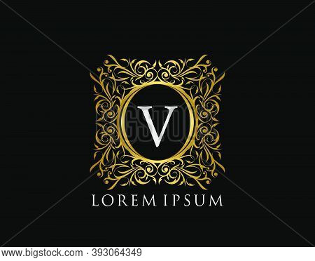 Luxury Badge Letter V Logo. Luxury Gold Calligraphic Vintage Emblem With Beautiful Classy Floral Orn