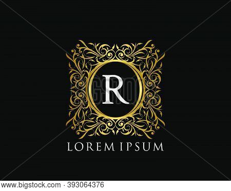 Luxury Badge Letter R Logo. Luxury Gold Calligraphic Vintage Emblem With Beautiful Classy Floral Orn