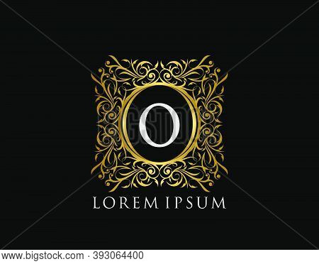 Luxury Badge Letter O Logo. Luxury Gold Calligraphic Vintage Emblem With Beautiful Classy Floral Orn