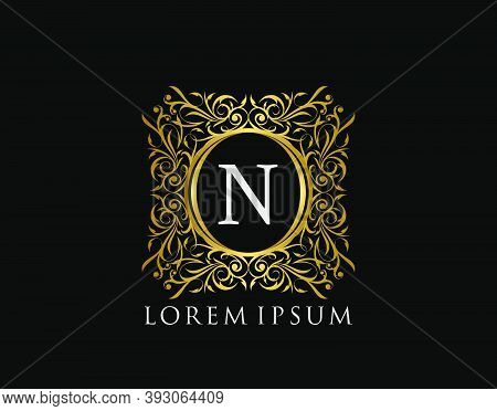 Luxury Badge Letter N Logo. Luxury Gold Calligraphic Vintage Emblem With Beautiful Classy Floral Orn