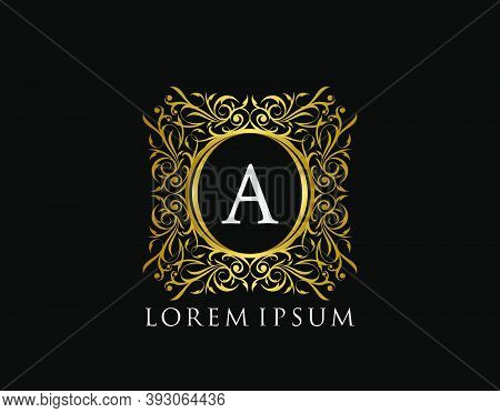 Luxury Badge Letter A Logo. Luxury Gold Calligraphic Vintage Emblem With Beautiful Classy Floral Orn
