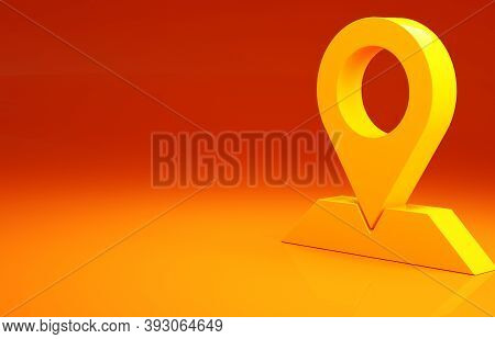 Yellow Map Pin Icon Isolated On Orange Background. Navigation, Pointer, Location, Map, Gps, Directio