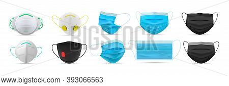 Realistic Respiratory Medical Face Masks Set. Collection Of Realism Style Drawn Doctor Respirators F