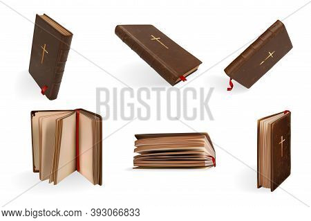 Realistic Christianity Holy Bible Set. Collection Of Realism Style Drawn Antique Book With Descripti