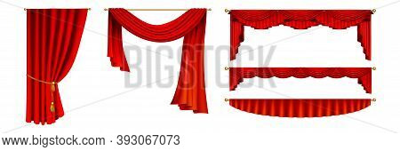 Realistic Curtains Set. Collection Of Realism Style Drawn Isolated Red Theater Sliding Curtains Mock