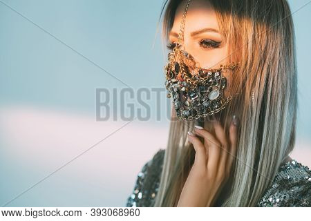 Covid-19 Fashion. Quarantine Accessory. New Normal. Glamour Festive Look 2021. Portrait Of Sensual W