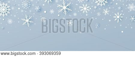 Christmas Decoration With White Paper Cut Snowflakes And Falling Snow. Winter Holiday Greeting Card.