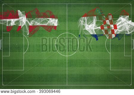 Denmark Vs Croatia Soccer Match, National Colors, National Flags, Soccer Field, Football Game, Compe