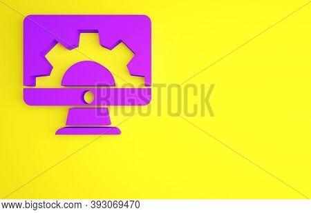 Purple Software, Web Development, Programming Concept Icon Isolated On Yellow Background. Programmin