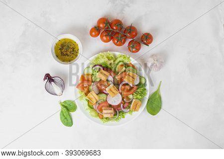 Traditional Middle Eastern Vegetarian Salad Fattoush. Lebanese Cuisine Recipe. Fresh Vegetables, Che