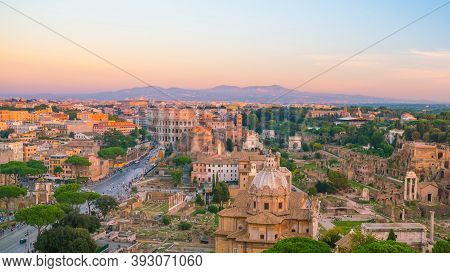 Top View Of  Rome City Skyline With Colosseum And Roman Forum