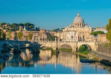 View At St. Peter's Cathedral In Rome, Italy At Sunset