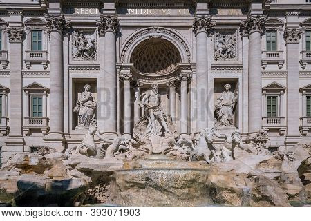 Details Of Trevi Fountain In The Heart Of Roma