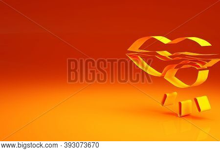 Yellow Herpes Lip Icon Isolated On Orange Background. Herpes Simplex Virus. Labial Infection Inflamm
