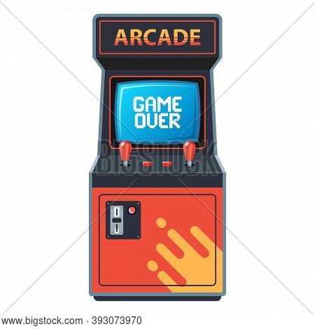 Arcade Machine On A White Background. Game From 80s. Flat Vector Illustration