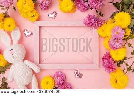 Beautiful Flowers Composition. Frame For Text And Amigurumi Rabbit On Pink Background. Valentines Da