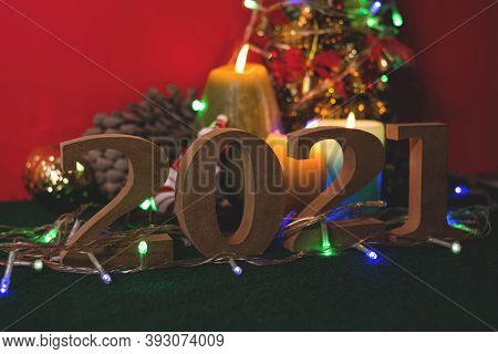 New Year's Eve, Must Accept The Year 2021. Ready With Candles, Christmas Trees, And Party Lights For