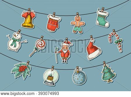 Merry Christmas Banner. New Year Sticky Label. Poster Template. Snowman And Christmas Tree, Candle D