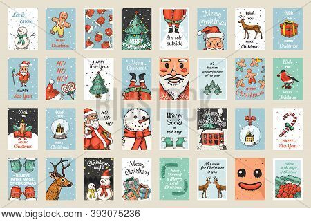 Merry Christmas Banners Set. New Year Sticky Label. Poster Template. Snowman And Tree, Candle Deer A