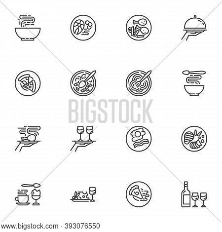 Restaurant Food Line Icons Set, Food Menu Outline Vector Symbol Collection, Linear Style Pictogram P