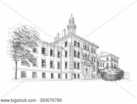 Vector Illustration With Style Classical Architecture. Historic Building Sketch Art, Black And White