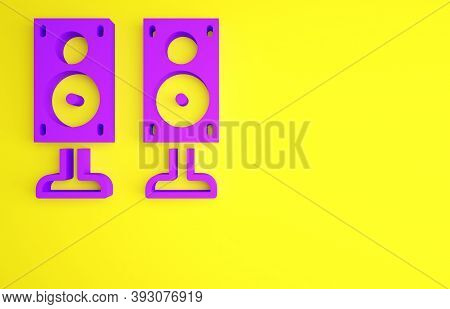 Purple Stereo Speaker Icon Isolated On Yellow Background. Sound System Speakers. Music Icon. Musical
