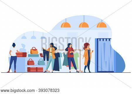 Women Buying Clothes In Apparel Store. Dress, Lady, Accessory Flat Vector Illustration. Fashion And