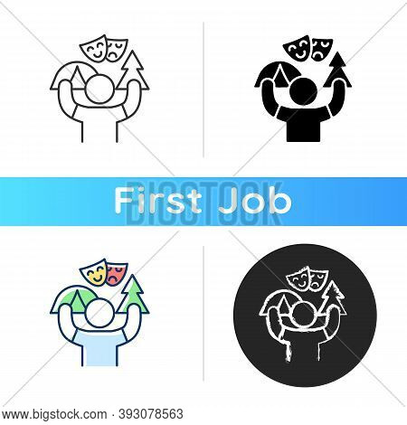 Camp Counselor Icon. Summer Job. Outdoor Pursuits. Creating Recreational Plans And Activities. Hikin