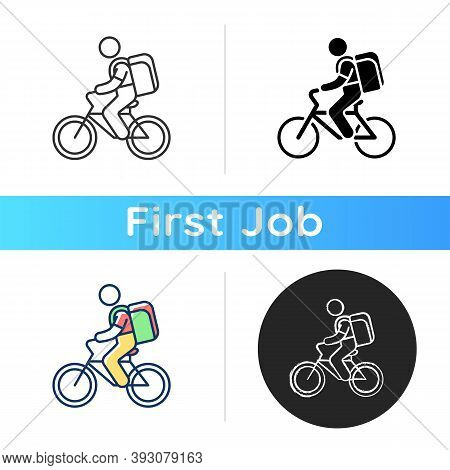 Food Delivery Person Icon. Meal And Groceries Delivery. Restaurant Takeout. Online Food Ordering. Bi