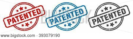 Patented Stamp. Patented Round Isolated Sign. Patented Label Set