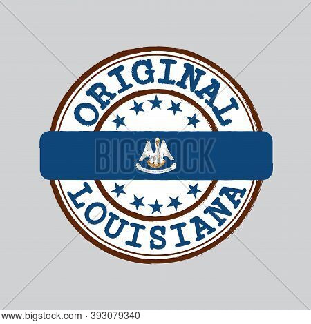 Vector Stamp Of Original Logo And Tying In The Middle With Louisiana Flag, The States Of America. Gr